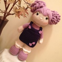 16 Handmade crochet doll with curly purple pigtailsAmelie - Dolly for dolly?Can i figure out how to replicate this? It's super adorable.how to do amigurumi hair written descriptionI really wish I were a photographer so these photos would come out a l Crochet Amigurumi, Crochet Doll Pattern, Knit Or Crochet, Cute Crochet, Amigurumi Patterns, Amigurumi Doll, Beautiful Crochet, Crochet Crafts, Doll Patterns