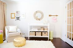 A golden baby changing station from the founder of Project Nursery.
