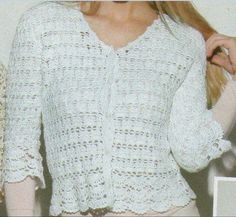 Crochetemoda: Crochet Blusa com Barrados em Leque