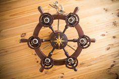 Nautical Chandelier, Wooden Chandelier, Chandelier Ceiling Lights, Wooden Lamp, Ceiling Fan, Ship Wheel, Wooden Ceilings, Nautical Fashion, Lighting Solutions