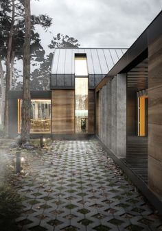 Contemporary residential architecture depicts a house nestled in woodland. Fog effects capture the atmosphere while splashes of orange cladding accentuate the details.  Architecture and CGI by Pikcells.