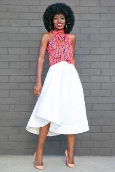 Printed Halter Top + White Flounce Midi Skirt Style Pantry waysify