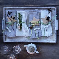 Napkin adornments and place settings