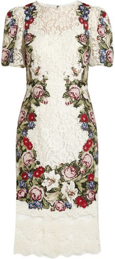 Just beautiful!  dolce and gabbana dresses | Dolce & Gabbana Tapestry and Lace Dress in Multicolor (white) - Lyst