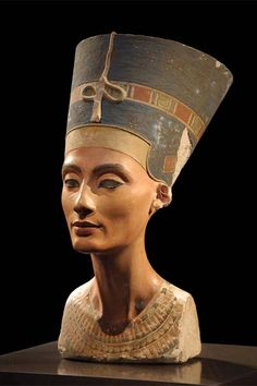 Bust of Nefertiti. She was the Great Royal Wife of the Egyptian Pharaoh Akhenaten. She was the mother-in-law and the stepmother of the Pharaoh Tutankhamun.