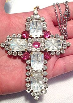 Huge Pink Clear Glass Rhinestone Cross Necklace Pendant Silver tone (Image1)  4 x 3 inch and is on an 18 inch silver tone chain