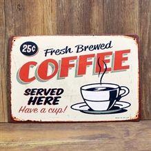 Emaljeskilt Fresh brewed coffee - NiceWall.dk