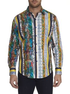 A multicolor tapestry of tropical floral, geometric and vertical stripes informs this artfully embroidered shirt by Robert Graham that would be a welcome addition to any Fall wardrobe. Sunset Strip, Robert Graham, Vertical Stripes, Fall Wardrobe, Sports Shirts, Mens Fashion, Shirt Dress, Mens Tops, Clothes