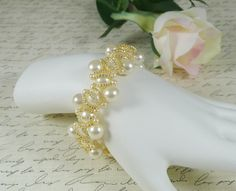 Cream Pearl Bracelet Woven Seed Bead Chain by IndulgedGirl on Etsy
