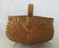 5.5in wide x 3in tall (to rim) c1900 So tightly woven could hold water. Small Southern Buttocks Basket