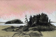 """Philip Koch, Maine Islands, pastel and vine charcoal, 9 x 12"""", 2013. I made this on location in Stonington, Maine."""