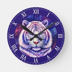 Shop Colorful Cosmic White Tiger Clock created by lioncrusher. Led Alarm Clock, Hand Coloring, Cosmic, Galaxies, Art For Kids, Original Artwork, Art Pieces, Colorful, Gifts