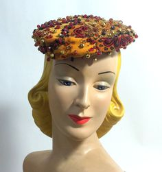 Velvet Beret in Autumnal Hues with Beading circa 1960s - Dorothea's Closet Vintage