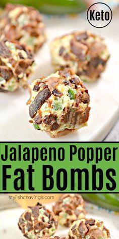 Keto Jalapeno Popper Fat Bombs – Easy keto appetizer or snack! Keto Jalapeno Popper Fat Bombs – Easy keto appetizer or snack! Jalapeno Poppers, Jalapeno Popper Recipes, Ketogenic Recipes, Low Carb Recipes, Diet Recipes, Healthy Recipes, Ketogenic Diet, Cheese Recipes, Dukan Diet