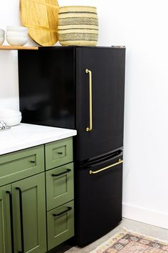 Last week we posted our studio kitchenette reveal and everyone had so many questions about our DIY black fridge with the brass pulls! When we started planning out our studio kitchen design we fell i Basement Furniture, Farmhouse Furniture, Diy Furniture, Furniture Outlet, Office Furniture, Basement Flooring, Plywood Furniture, Furniture Stores, Kitchen Furniture