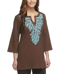 Look at this Chocolate & Turquoise Embroidered Notch Neck Tunic - Plus Too on #zulily today!