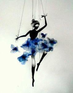 Bailarina de ballet, flores de acuarela, watercolor flowers, negro y azul, dibujo, drawing,