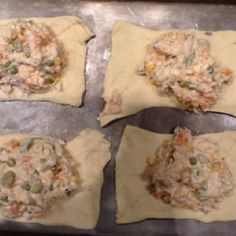 Yummy easy chicken pot pies! My Family's fav!! 1 can of chicken 4 oz cream cheese softened  1 T butter 2 T milk Dash salt and pepper one can veg all drained and Pkg. crescent rolls Mix all in a bowl except crescents...make a square out of two triangle rolls. Put 1/4 of mixture in each one. Fold up and bake 350 for 20-25 min.