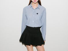 Embroidered Heart Detail Striped Shirt | MIX X MIX | Shop Korean fashion casual style clothing, bag, shoes, acc and jewelry for all