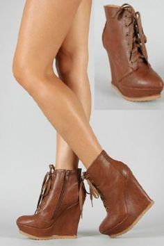 56ec14813565 Cognac Brown Lace-Up Bootie High Heeled Platform Ankle Wedge Shoe Boots w   pointed