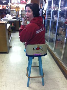 Wooden stool made to show your G string and tramp stamp   Check out our other items at  Www.facebook.com/whatworkz
