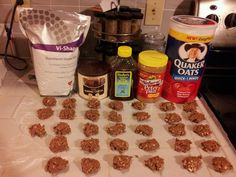 Visalus no bake cookies. 1 cup natural pb, 1/2 c honey, 3 Tbs cocoa, 3 scoops vi shake mix, 1 1/2 c oats. Mix pb & honey microwave 30-45 seconds. Add cocoa and shake mix blend well add oats. Spoon out on paper or pan let cool and enjoy. I've also put these in a 9x9 pan and cooled in fridge.  Great protein snack.