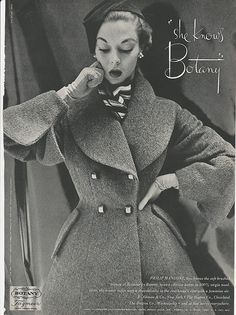 1952 JEAN PATCHETT Philip Mangone Coat BOTANY Womens Vintage FASHION Photo Print Ad
