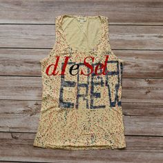 DIESEL XS/S lkNEW o womens sleeveless top t-shirt velour print beige red great! Womens Sleeveless Tops, Red And Blue, Diesel, Tank Man, Beige, Fabric, Mens Tops, Cotton, How To Wear