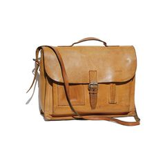Graham Cracker Tan Leather BREE Briefcase by TanakaVintage on Etsy, $229.00