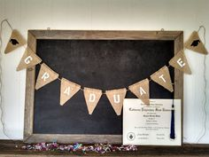 Graduate Burlap Banner Triangle Flag Pennant Cap and Gown Bunting Graduation Party Sign on Etsy, $30.00