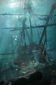 "theamazingdigitalart: "" Ship Wreck by Blake Rottinger Beginner's Guide to Sketching: Characters, Creatures and Concepts "" underwater Segel Tattoo, Pirate Art, Pirate Ships, Pirate Crafts, Bateau Pirate, Old Sailing Ships, Abandoned Ships, Ghost Ship, Underwater World"