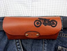 Monogram Sunglasses Glasses Case Motorcycle Enduro Chopper Harley Vespa BMW Moto Guzzi Bike Bicycle Natural Leather Red Brown Gift for Dad