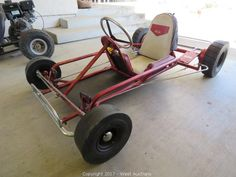 This item, Vintage Neal Go-Kart , is part of the online auction: 2006 Chevrolet Utility Van, Trailer and Go-Karts . Vintage Go Karts, Diy Go Kart, 3rd Wheel, Karting, Cool Motorcycles, Mini Bike, Creative Design, Baby Strollers, Chevrolet