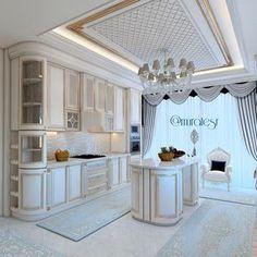 Modern Home Decor Kitchen Kitchen Ceiling Design, Luxury Kitchen Design, Luxury Kitchens, Home Decor Kitchen, Kitchen Interior, Dream House Interior, Luxury Interior, Interior Design Living Room, Mansion Kitchen