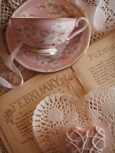 pink tea set and pink pastry