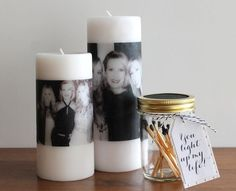 DIY Photo Candles: A great gift for a birthday, Mother's Day or bridal or baby… Mothers Day Candle, Diy Mothers Day Gifts, Photo Candles, Diy Candles, Pillar Candles, Diy Photo, Craft Gifts, Diy Gifts, Support Bougie