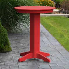 Outdoor A & L Furniture Poly 33 in. Round Bar Height Table - 4180-WITHOUT HOLE-BW BRIGHT RED
