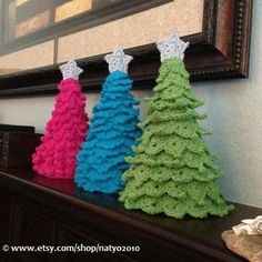 crochet christmas tree | Crochet Christmas Tree Decoration - 3 Different ... | Christmas tre ...