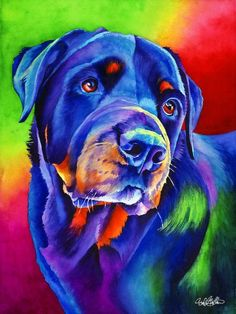 """Thor"" ~ Rottweiler Watercolor by Sinclair Stratton, Pet Portrait Artist Rottweiler Puppies, German Rottweiler, Corgi Puppies, Arte Pop, Dog Portraits, Art Plastique, Animal Paintings, Animal Drawings, Dog Art"