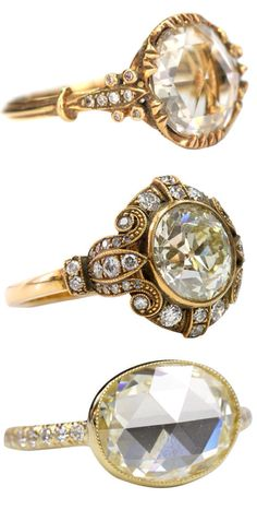 LOOOOOVE THE 3RD ONE DOWNN!!!! Vintage Art Deco rings. The middle one is my favorite!
