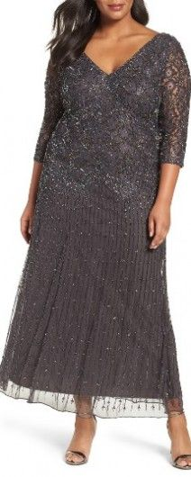 Plus Size Women's Pisarro Nights Beaded V-Neck Lace Illusion Gown, Size 24W - Grey