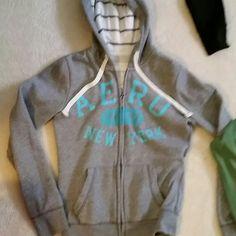Aeropostale Med. Zip up hoodie Grey with baby blue writing Aeropostale Sweaters