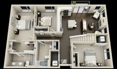 Pinterest: @claudiagabg | Apartamento 2 pisos 3 cuartos 1 estudio abierto / planta 1