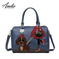 AMELIE GALANTI 2016 new fashion retro handmade embroidery cartoon lovely dog bag portable shoulder bag women bag free shipping