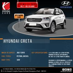UPCOMING CAR - HYUNDAI CRETA  Estimated Price: RS: 7 - RS: 13. LAKH When to expect: JULY, 2015 Fuel Types: Petrol, Diesel Body Type: SUV Key Specifications: 1.4-Litre and 1.6-Litre Petrol Engines & Diesel option will be the 1.6-Lire four cylinder. Gearbox 5-speed manual, 6-speed manual as well as a 4-speed at all sending power to the front wheels.  #Hyundai #HyundaiCar #HyundaiCreta #diesel #Car #UsedCar #UsedCarinAhmedabad #KrishnaCars #KrishnaCarsAHD