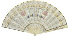 """The """"Ladies Telegraph fan"""" from 1798. It was regarded as a conversation fan, designed for conversing across a room by moving tabs denoting letters. Words and sentences could be spelled with the aid of a color chart and engraved instructions on the back of the fan. Over time, an entire """"fan etiquette"""" evolved with subtle hand gestures to signal certain intentions to a familiar suitor. It really was the cell phone of the 17th century."""