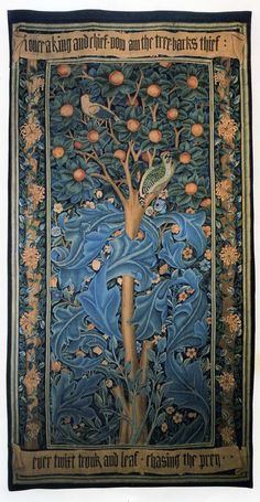 William Morris's Woodpecker Tapestry~William Morris has been credited with starting the Arts and Crafts movement which led to the Art Nouveau movement...He was heavily influenced by Japanese design