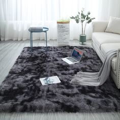 Large Size Super Soft Tie-Dye Art Carpet Floor Bedroom Mat Gradient Color Fluffy Area Rug Living Room Carpet Hallway Mat 7 Colors - Home Decoration Ideen Bedroom Mats, Living Room Bedroom, Rugs In Living Room, Nursery Room, Dorm Room, Baby Room, Area Rug Dining Room, Room Rugs, Plush Carpet