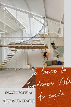 """Inventer une nouvelle tendance déco : le défi du DECOllectif (avril 2020)! Inspiration camp scout (PH, mât, installations) pour application dans la maison en architecture intérieure et décoration (filet, protection escalier ou mezzanine, décor mural...). La tendance """"Aile de corde"""": une invention de À tous les étages, conseil en agencement & décoration en région parisienne."""