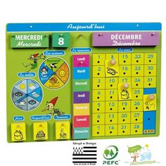 Calendrier perpétuel pour enfant JB BOIS Preschool Weather Chart, Preschool Learning, Teaching, Diy Craft Projects, Classroom Calendar, French Resources, Class Decoration, French Words, Toddler Books